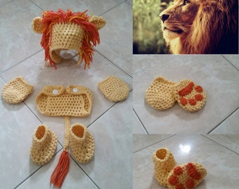 Crochet Lion Outfit (Beanie, diaper cover, mittens and booties)