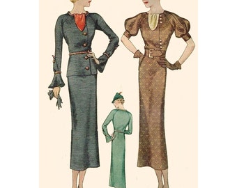1930s Style Raglan Sleeve Day Dress with Jabot and Slim Skirt Custom Made in Your Size From a Vintage Pattern