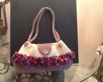 Hand knit felted bobble bag.
