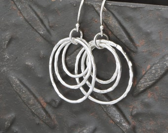 Hammered Silver Triple Circle Dangle Earrings - Hammered Silver Earrings - Circle Earrings - Circle Hoops - Silver Circles