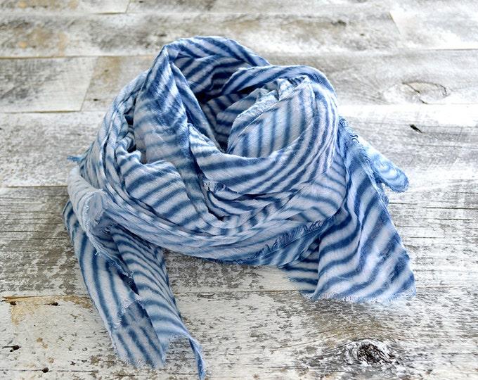 Navy Blue Shibori Scarf - Hand Dyed Cotton - 25 x 72 - Marine