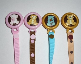 Teddy Bear Pacifier Clip