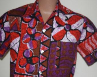 1960's Men's Abstract Hawaiian Shirt Size Medium