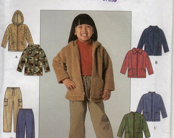 Long Jacket With Front Zipper Optional Hood And Pants Girls Size 3 4 5 6 7 8 Childrens Sewing Pattern 1999 Simplicity 8902
