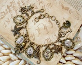 Nautical Charm Bracelet in Brass - Pirate Ship Captains Wheel Seashell Octopus Seahorse Starfish - Antique Nautical Print Charm Bracelet