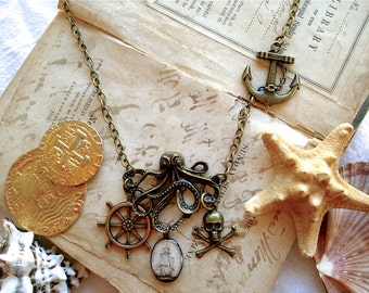 Leviathan in Brass - Octopus Necklace - Pirate Statement Necklace - Pirate Jewelry