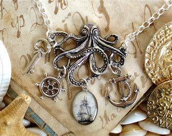 Octopus Necklace - Anchor Necklace - Pirate Jewelry / Statement Necklace - The Kraken in Silver
