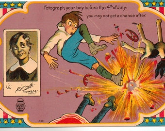 Vintage Postcard, Fourth of July, Boy Playing with Fireworks, ca 1910