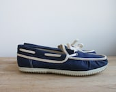 Vintage Women's Canvas Boat Shoes Blue and White Slip On Loafer Size US 10 UK 41 Sunsport Gift for Her Christmas Gift