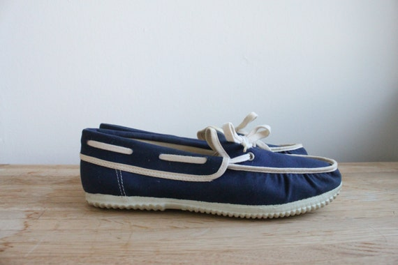 vintage womens canvas boat shoes blue and by