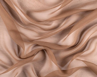 "42"" Wide 100% Silk Crinkled Chiffon Mocha Brown by the yard"