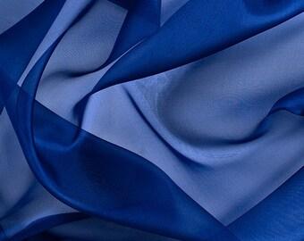 """45"""" Wide 100% Silk Organza Dark Blue by the yard"""