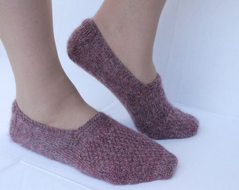 Hand Knit Soft Slippers, Knit Purple Slippers, Knit Women Slippers, House Slippers