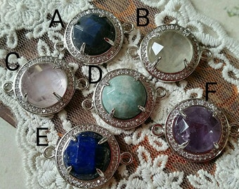 Natural Raw Quartz Pendants / Double Bails Round Shape / Sterling Silver Plated Copper Pendant/ With Rhinestones Edged (tg)