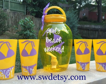 Personalized Bachelorette Cups & Drink Dispenser, Set of 4 Tumblers, Beach,Bikini, Party Cups