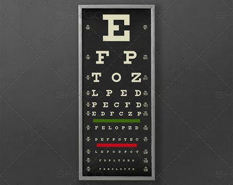 Eye Exam Prints, Eye Test Print Modern Art Black and White Decor Oculist Chart Old Vintage Poster Vintage Inspired Vision Doctor Chart