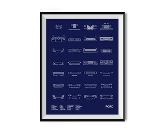 Auto Icon Screen Print Series: Ford
