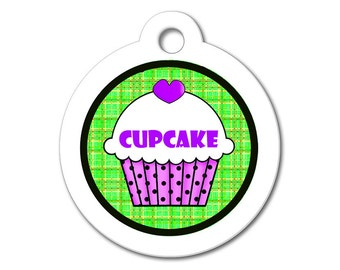 Cute Dog Tag - Purple Cupcake with Green Pattern Background - Dog Tags for Dogs, Personalized ID Name Tag for Dogs & Cats, Dog ID Tag