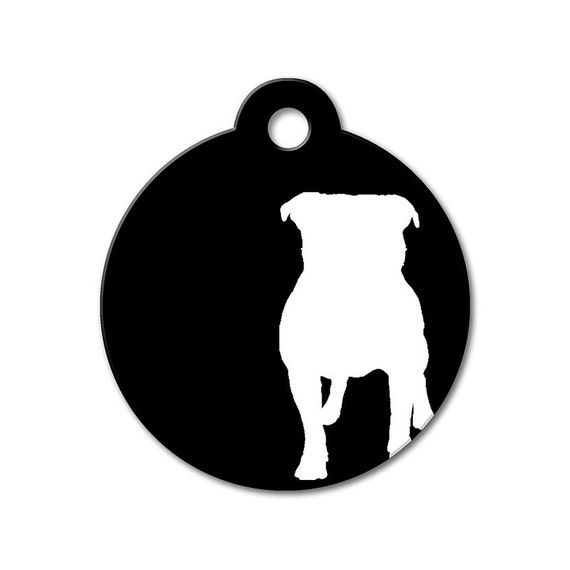 Dog Tags - Pitbull - Dog ID Tags, Dog Tags for Dogs, Dog Name Tag, Personalized Pet ID Tags, Modern Pet Tags - Modern Dog Silhouette Pet Tag