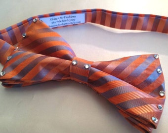 Orange Stripe Bow Tie with clear rhinestones for men or women