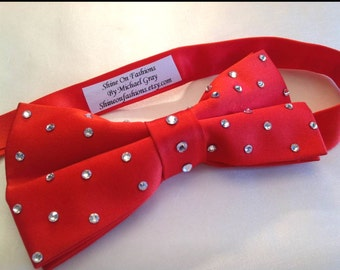 Red Bow Tie with clear rhinestones for men or women
