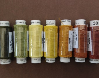 Seven spools of Czech cotton lacemaking thread - Autumn colourway