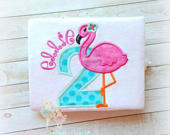 Flamingo birthday shirt - 1st birthday shirt (any age)- pink flamingo shirt or bodysuit - custom embroidered girls birthday shirt