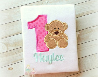 Bear Birthday Shirt- Custom Embroidery- Fuzzy bear- Pink Dots Number- Girl's Birthday