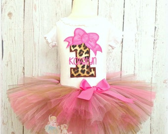 Leopard birthday outfit - leopard tutu outfit - 1st birthday safari outfit - first birthday outfit - zoo theme outfit - safari theme outfit