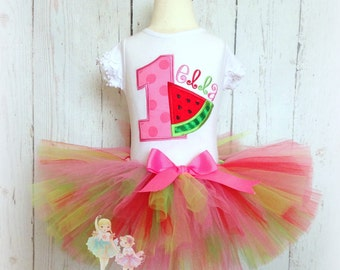 Watermelon Tutu Outfit- 1st Birthday Outfit- Birthday Picnic- Custom Embroidery- Watermelon Tutu Set