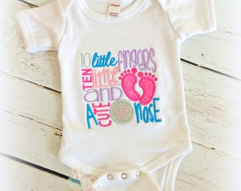 Newborn Baby Bodysuit- Footprints Applique- Baby Saying- Embroidery Design- Baby Shower gift