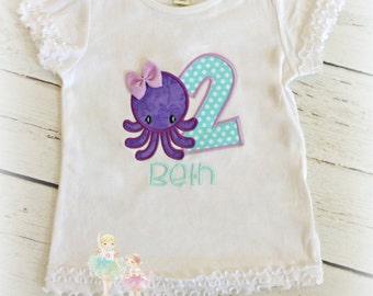 Octopus birthday shirt - beach themed birthday shirt - summer birthday shirt - purple octopus shirt - personalized birthday shirt for girls