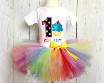 Rainbow Cupcake Birthday Tutu Outfit- 1st Birthday Set- Custom embroidery