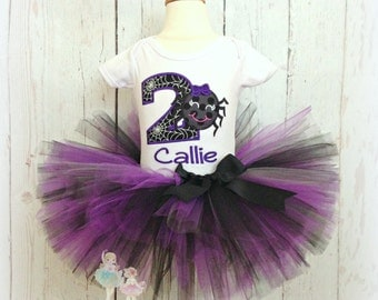 Halloween birthday outfit - spider birthday outfit - Halloween tutu outfit - purple and black spider tutu outfit - girls spider costume