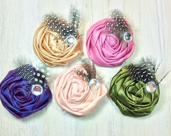choose rosette hair clip or headband baby girl headband vintage shabby rolled rosette fabric flower headband rolled rosette