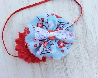 Red light blue girl headband chiffon flower headband girl infant newborn persnickety m2m thin, elastic, lace headband, metal