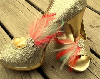Mint and Coral Wedding Shoe Clips, Bridal Shoe Clips, Feather Shoe Clips, Rhinestone Shoe Clips, Clips for Wedding Shoes, Bridal Shoes