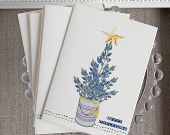 Texas Bluebonnet Christmas Note Cards- Set of 5