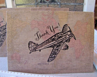 Thank You Notes set of 5 Vintage Aviation World Map Airplane Travel