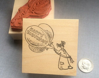 Happy Birthday Balloon Rubber Stamp
