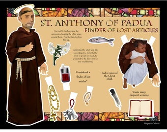 SALE St Anthony of Padua finder of lost things Catholic Saint DIGITAL download paper doll