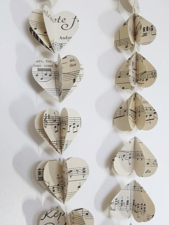 Musik Noten Garland 3d Paper Mobile Vintage Buchen