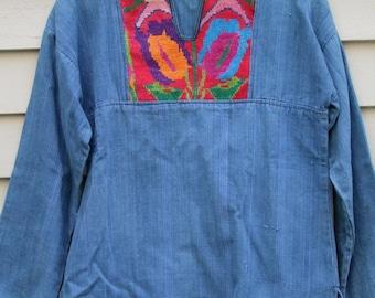 Vintage Huipil hand Embroidered Denim top ala 1970s