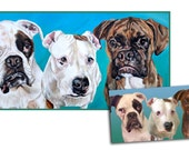 custom dog portrait hand painted pet oil painting boxers pit bull art great gift 18x36 made to order by Heather Hughes