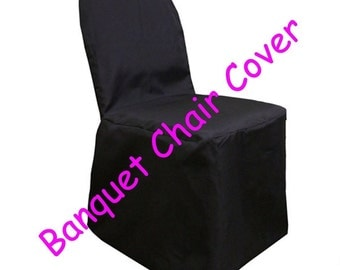Black Banquet Wedding Chair Covers Polyester