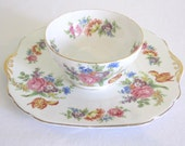 VINTAGE 1950s STANLEY cake plate and serving bowl - fine bone china