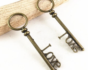 Love Key -6pcs Antique Bronze Huge Old Fashion Key Charm Pendants 24x82mm B305-5