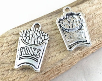 Fries Charms -20pcs Antique Silver French Fries Charm Pendant 15x21mm AC205-2
