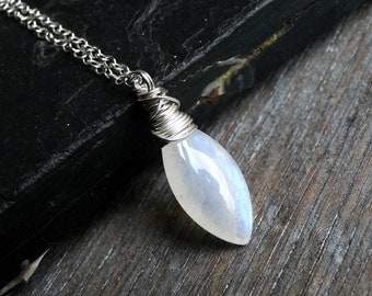Rainbow Moonstone Necklace on Sterling Silver - Shard by Inkin on Etsy
