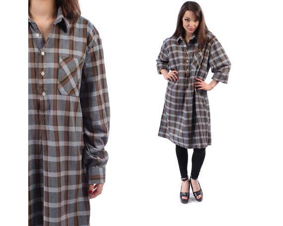 Buffalo plaid flannel shirt dress gray 90s grunge 1990s for Extra long dress shirts